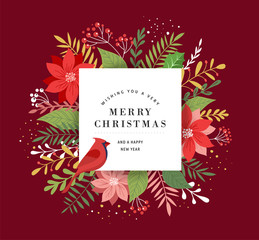 Merry Christmas greeting card, banner and background in elegant, modern and classic style with leaves, flowers and bird