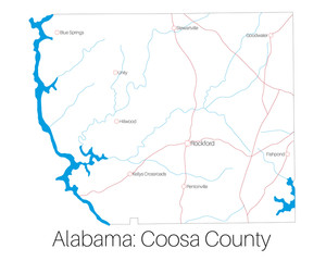 Detailed map of Coosa county in Alabama, USA