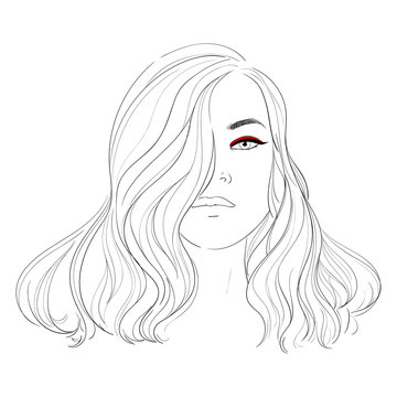 Fashion illustration. Makeup, cosmetics. Hand drawn woman with curly luxurious hair. Girl with perfectly shaped eyebrows and full lashes. Perfect salon look. Beauty Salon concept. Great for Avatar