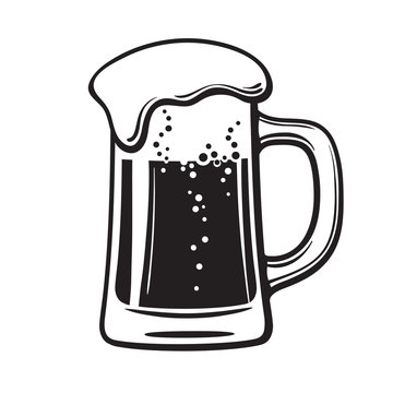 Glass mug of beer. Hand drawn vector illustration isolated on white.