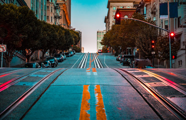 California Street at dawn, San Francisco, California, USA