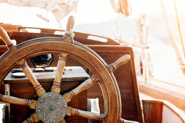 Steering wheel of an old ship.