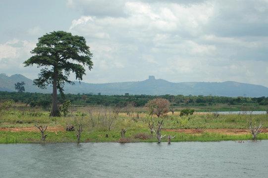 Ghana landscape with Buruku Rock in distance