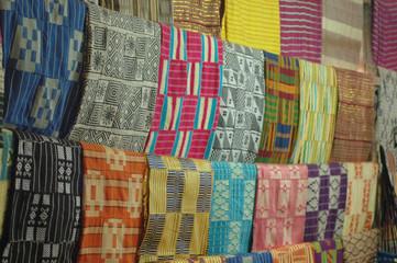 Bright African Fabrics in Artisan's Workshop
