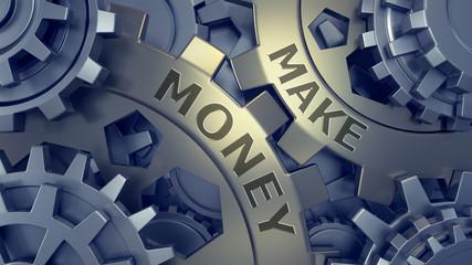 Make money concept. Gold and silver gear weel background illustration. 3d render.