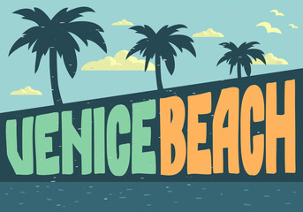 Venice Beach Los Angeles California Design For Poster Postcard Vector Image