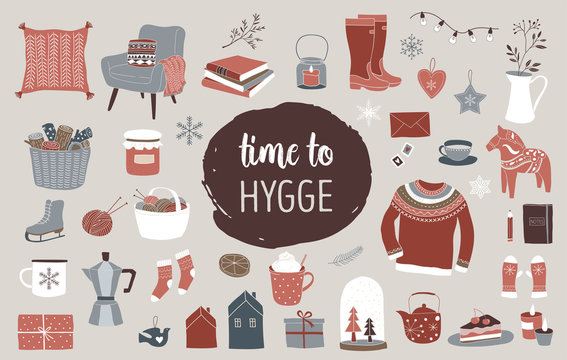 Nordic, Scandinavian winter elements and Hygge concept design, Merry Christmas card, banner, background