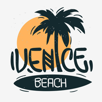 Venice Beach Los Angeles California Palm Tree  Label Sign  Logo Hand Drawn Lettering Modern Calligraphy for t shirt or sticker Vector Image