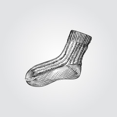 Hand Drawn Kid wool sock Sketch Symbol isolated on white background. Vector of Knitting elements In Trendy Style