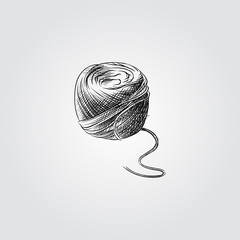 Hand Drawn Ball of knitting wool Sketch Symbol isolated on white background. Vector of Knitting elements In Trendy Style