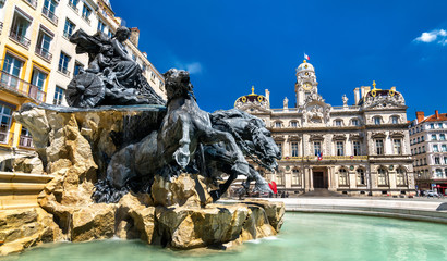 The Fontaine Bartholdi and Lyon City Hall on the Place des Terreaux, France