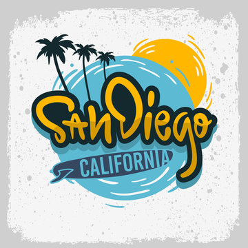 San Diego California Surfing Surf  Design  Hand Drawn Lettering Type Logo Sign Label for Promotion Ads t shirt or sticker Poster Vector Image