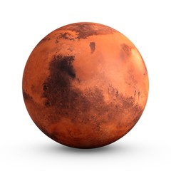 3D Rendering Planet Mars isolated on white