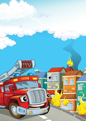cartoon illustration with fire fighter truck at work putting out the fire