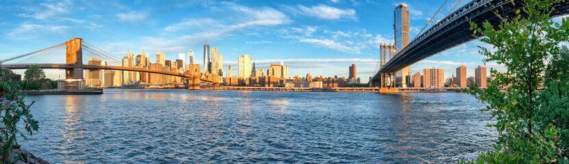 Panoramic view of Manhattan and Brooklyn Bridge in New York. USA