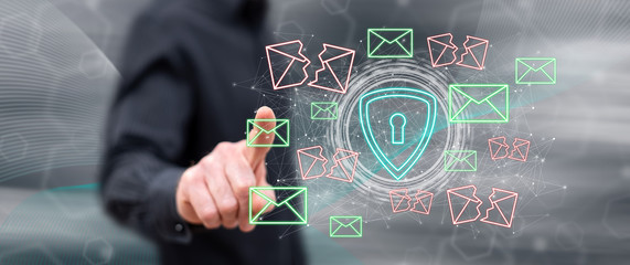 Man touching an email protection concept