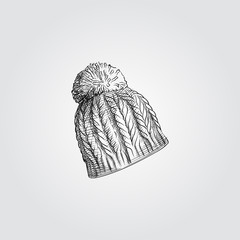 Hand Drawn knitting hat Sketch Symbol isolated on white background. Vector of winter elements In Trendy Style