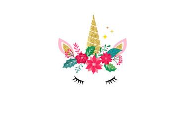 Cute unicorn illustration - Merry Christmas card and shirt design