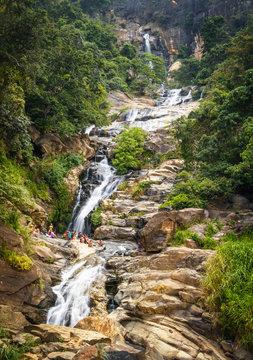 The Ravana Falls, popular sightseeing attraction in Ella, Sri Lanka.