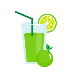 Lime juice in a glass vector