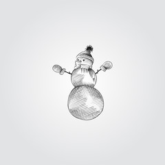 Hand Drawn Snowman Sketch Symbol isolated on white background. Vector of Christmas elements In Trendy Style