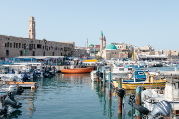 View from the marina of the old city of Acre and its marina, in Israel