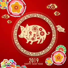 Happy Chinese new year 2019. Year of the pig. Colorful hand crafted art paper cut style. On red blue background.