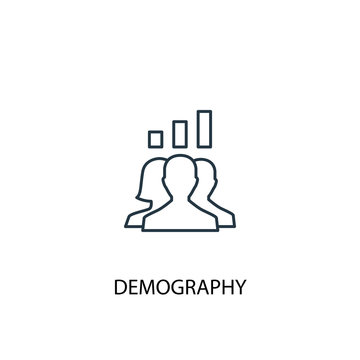 demography concept line icon. Simple element illustration. demography  concept outline symbol design. Can be used for web and mobile UI/UX