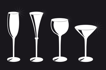 set of different drinking glasses silhouette on black background