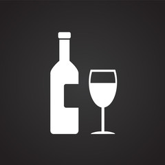 Wine bottle with glass on black background icon