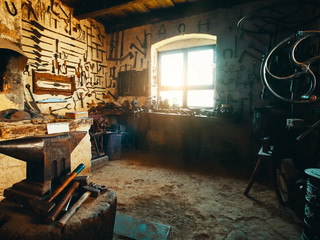 Old smithy workshop interior
