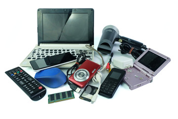 Electronic waste, gadgets for daily use and broken on white background