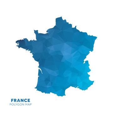 Map of France. Blue geometric polygon map.