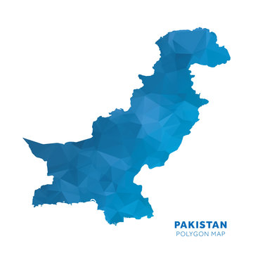 Map of Pakistan. Blue geometric polygon map.
