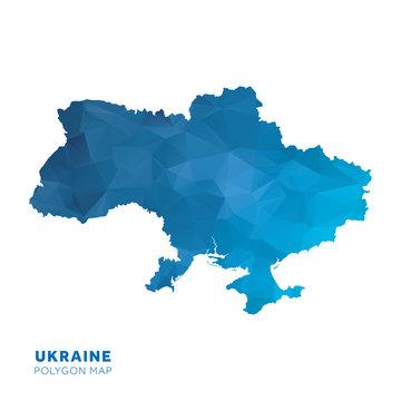 Map of Ukraine. Blue geometric polygon map.