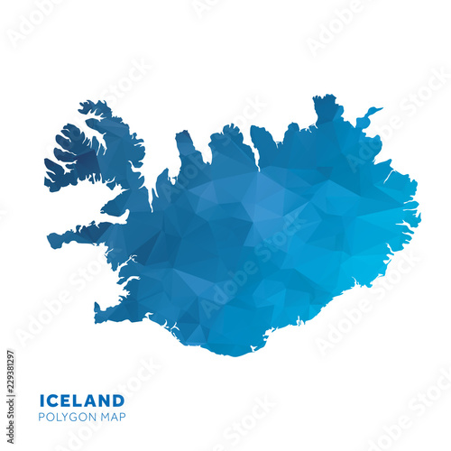 Map of Iceland  Blue geometric polygon map