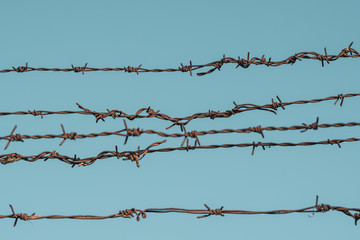 Barbed wire against sky background