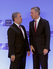 Colombian President Ivan Duque Marquez is welcomed by NATO Secretary General Jens Stoltenberg at the Alliance headquarters in Brussels