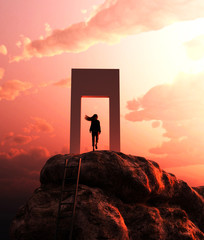 Girl climbing to the top with her dream to become success,3d rendering