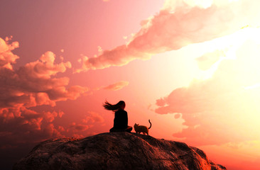 Girl sitting with her cat looking to the sunset sky,3d rendering