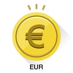 ユーロ通貨コインアイコンベクターイラスト