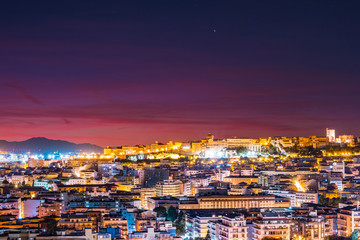 Cagliari at night, capital of the region of Sardinia, Italy. Beautiful skyline image of the big city on the island.