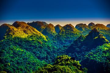 Cat Ba Island in Vietnam, Asia. Beautiful landscape with weird mountains.