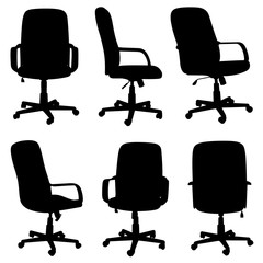 Set of different office chairs isolated on white