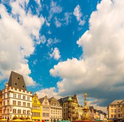 Historic House facades Main Market Trier Rhineland Palatinate Germany.