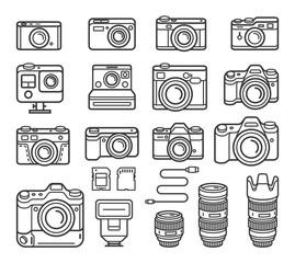Camera line icons set. Vector illustration.