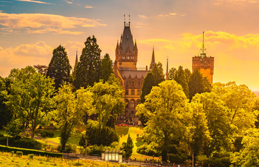 Beautiful sunset landscape with Schloss Drachenburg Castle in Konigswinter on the Rhine river near the city of Bonn in Germany