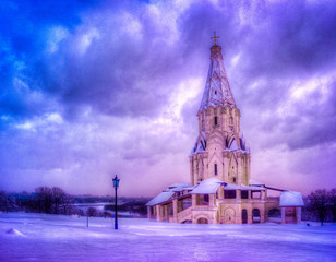 Winter view to Ascension Church after snowfall in Kolomenskoye, Moscow, Russia