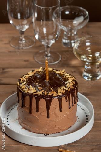 Homebaked Birthday Chocolate Cake Wine Glass