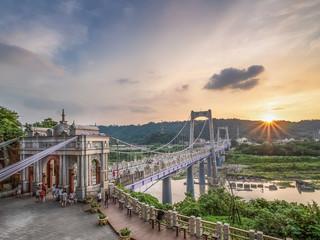 Daxi Bridge with sunset in Taoyuan City, Taiwan.